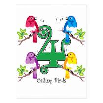 4 Calling Birds Postcard