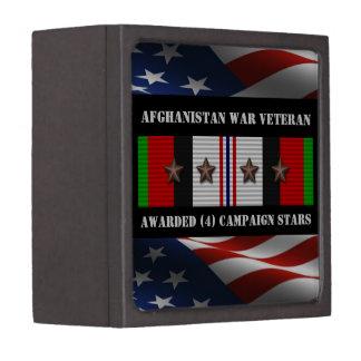 4 CAMPAIGN STARS AFGHANISTAN WAR VETERAN PREMIUM TRINKET BOXES