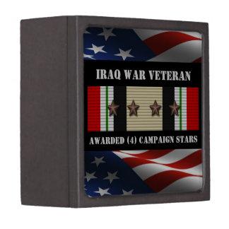 4 CAMPAIGN STARS IRAQ WAR VETERAN PREMIUM KEEPSAKE BOX