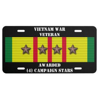 4 CAMPAIGN STARS VIETNAM WAR VETERAN LICENSE PLATE