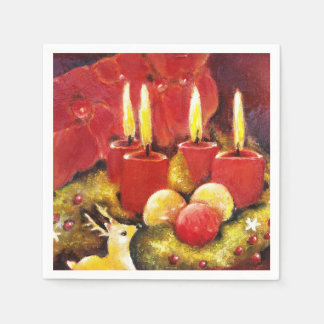 4 Candles Glowing- Napkins