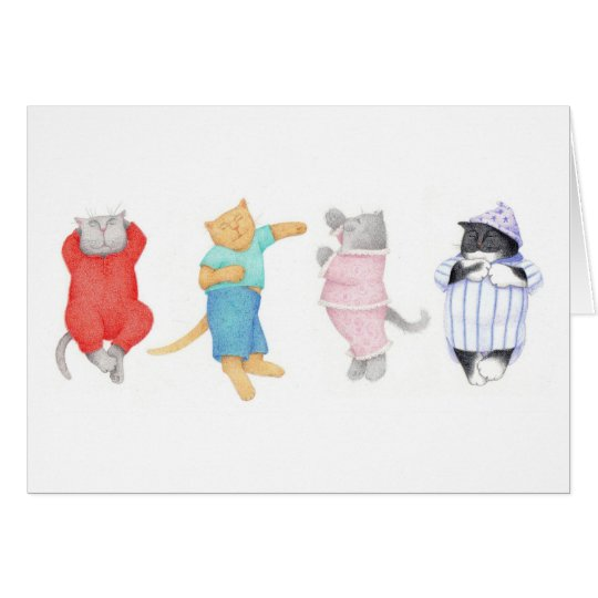 4 Cats in Pajamas BLANK Greeting Card
