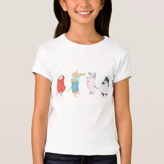 4 Cats in Pajamas Girls Babydoll T Shirt