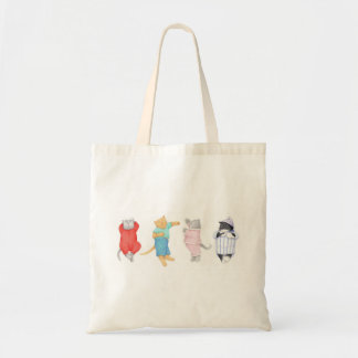 4 Cats in Pajamas Natural Budget Tote Bags
