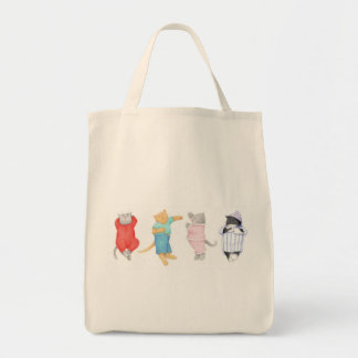 4 Cats in Pajamas Natural Grocery Tote