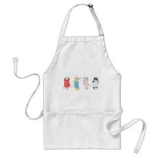 4 Cats in Pajamas Standard White Apron