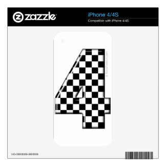 4 checkered auto racing number decal for iPhone 4