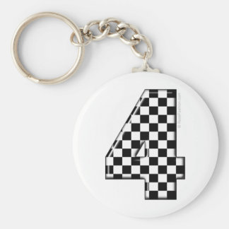 4 checkered auto racing number keychain