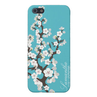 4 Cherry Blossom (aqua) iPhone SE/5/5s Case