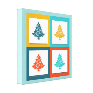4 Christmas Trees Retro Design Canvas Print