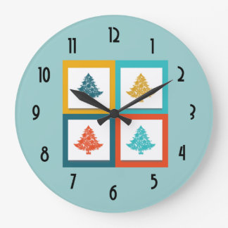 4 Christmas Trees Retro Design Large Clock