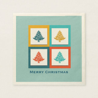 4 Christmas Trees Retro Design Napkin