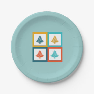 4 Christmas Trees Retro Design Paper Plate