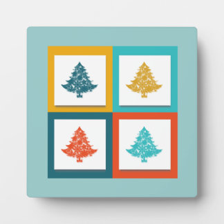 4 Christmas Trees Retro Design Plaque