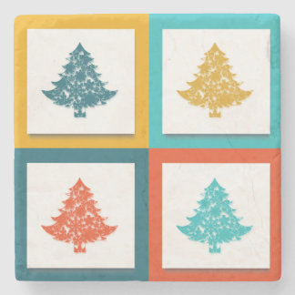 4 Christmas Trees Retro Design Stone Coaster