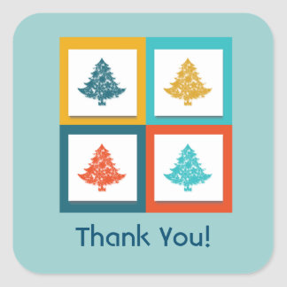 4 Christmas Trees Retro Design Thank You Square Sticker