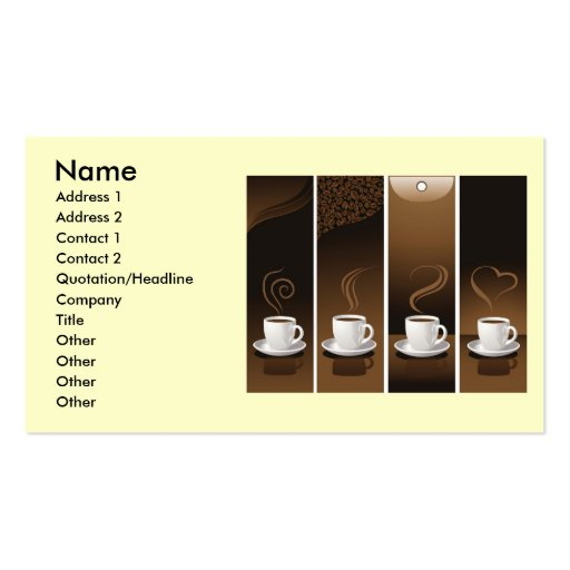 4 Coffee Cups in vector, Name, Address 1, Addre... Double-Sided Standard Business Cards (Pack Of 100)