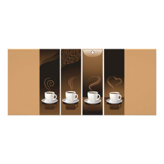 4 Coffee Cups in vector Rack Card