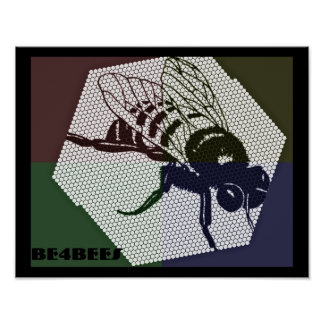 4 color be4bees honey comb poster