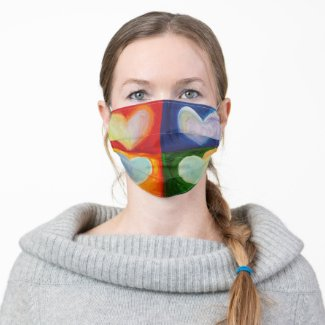 4 Color Hearts Inspirational Art Custom Face Masks