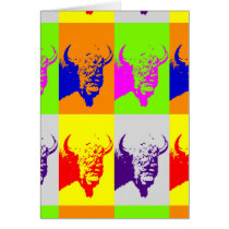 4 Color Pop Art Buffalo Bison Card