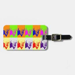 4 Color Pop Art Buffalo Bison Luggage Tag