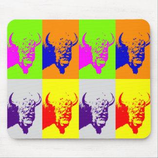 4 Color Pop Art Buffalo Bison Mouse Pads