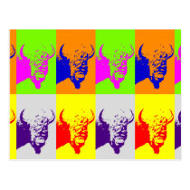 4 Color Pop Art Buffalo Bison Postcard