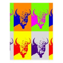 4 Color Pop Art Buffalo Bison Postcard