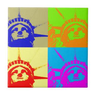 4 Color Pop Art Lady Liberty Ceramic Tile