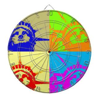 4 Color Pop Art Lady Liberty Dart Board