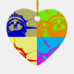 4 Color Pop Art Lady Liberty Double-Sided Heart Ceramic Christmas Ornament