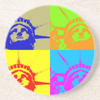 4 Color Pop Art Lady Liberty Drink Coaster