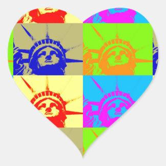 4 Color Pop Art Lady Liberty Heart Sticker