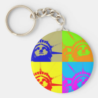 4 Color Pop Art Lady Liberty Keychain