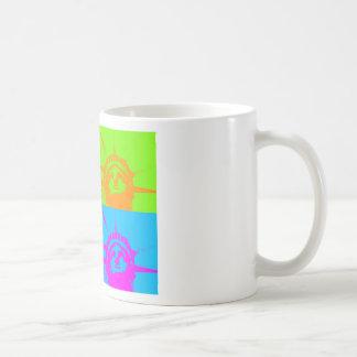 4 Color Pop Art Lady Liberty Classic White Coffee Mug