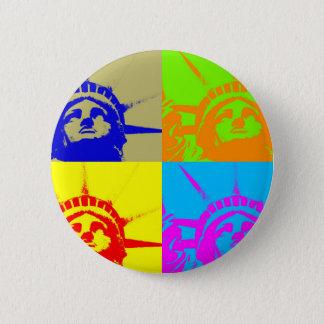 4 Color Pop Art Lady Liberty Pinback Button