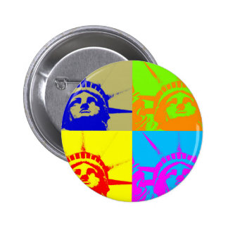 4 Color Pop Art Lady Liberty Pinback Button