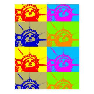 4 Color Pop Art Lady Liberty Postcard