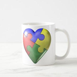 4 Color Puzzle Heart Coffee Mug