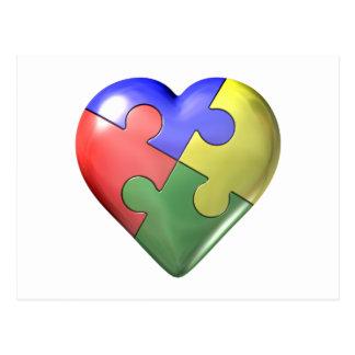 4 Color Puzzle Heart Postcard