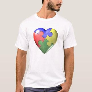 4 Color Puzzle Heart T-Shirt
