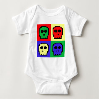 4 Color Retro 8-bit Skulls Baby Bodysuit