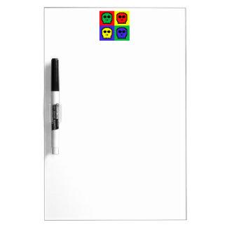 4 Color Retro 8-bit Skulls Dry Erase Board
