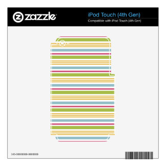 4 Color Stripe Focus Chartreuse Green Skin For iPod Touch 4G