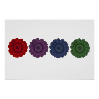 4 Colored Flowers Print