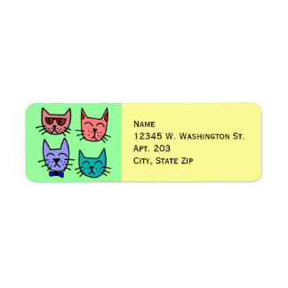 4 Colorful Funny Cute Cartoon Cat Faces Label