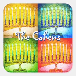 4 colorful Hanukkah menorahs photo custom name Square Sticker