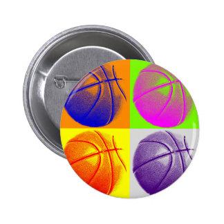 4 Colors Pop Art Basketball Pinback Button