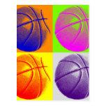 4 Colors Pop Art Basketball Post Cards